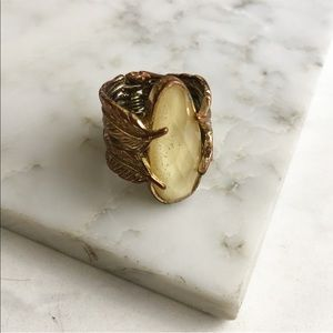 Gold Leaf Checkerboard Oval Stone Statement Ring